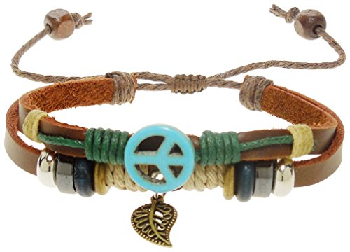 - Bracelet- Brown Leather Peace Sign With Leaf