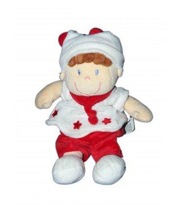 Doudou peluche gnomo blanco rojo burdeos estrellas Nicotoy Simba Kiabi 25 cm