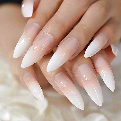 CoolNail Gradeint Natural Nude Pink Stiletto False Fake Nails Ombre French Extra Long Pointed Salon Press On Wear UV Nail Art Tips -