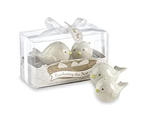 Feathering the Nest Ceramic Love Birds Salt and Pepper Shakers Wedding Favors, Set of 24