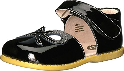 Livie & Luca Girls' Bow Mary Jane Flat, Black, 12 Medium US Little Kid