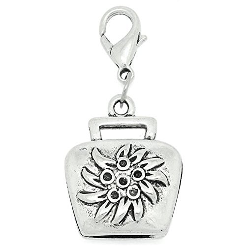 SEXY SPARKLES Clip on Flower Purse Charm Dangle Pendant for European Clip on Charm Jewelry - Purse Dangle Charm