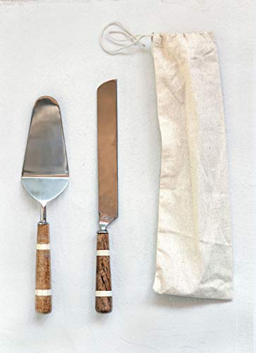 Creative Co-op Stainless Steel Wood & Horn Inlay Handle and Bag (2 Pieces) Cake Knife & Server, Brown