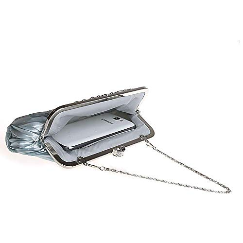 Classic Purse Bag Wedding Gray Evening Pleated for KNUS Satin Women Clutch 1qXRnfFw
