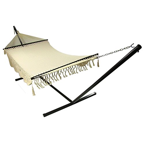Deluxe Rope Hammock - Sunnydaze DeLuxe American Style 2 Person Hammock with Spreader Bars and 15-Foot Hammock Stand, 400 Pound Capacity