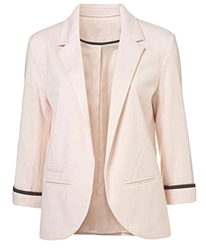 FACE N FACE Women's Cotton Rolled Up Sleeve No-Buckle Blazer Jacket Suits Small Pink (Face Buckle)