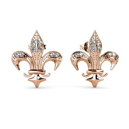 FAPPAC Fleur De Lis Stud Earrings Enriched with Swarovski Crystals ()