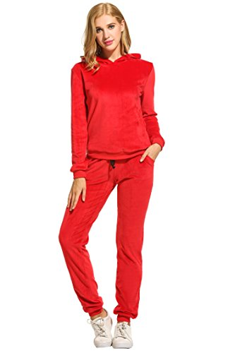 (Hotouch Women's Regular Drawstring Pants w/Hoodie Sweatshirt New Velour Set Red S)