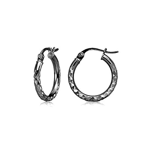 (Black Flashed Sterling Silver 2mm Diamond Cut Round Hoop Earrings, 15mm)