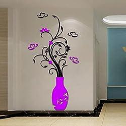 Rumas DIY Rusable 3D Flower Wall Mural, Peel and Stick Wallpaper, Art Wall Sticker Decal for Door Baby Room Office Kindergarten (Purple)