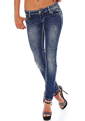 & Cipo Baxx Women's Big White Stitch Jeans Trousers Blue Blue - Denim Blue
