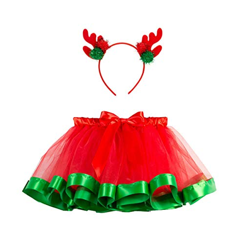 storeofbaby Girls Pleated Tutu Skirt for Toddler Christmas Halloween Pettiskirt Costume Red Green]()