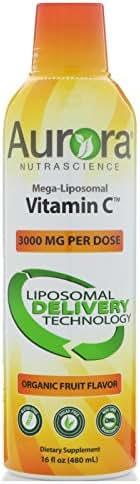Aurora Nutrascience Mega-Liposomal Vitamin C Organic Fruit Flavor 3000 mg 16 fl oz 480 ml