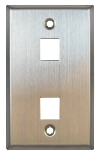 Allen Tel Products ATBKF-VT-2 Single Gang, 2 Ports Versatap Faceplate, Stainless Steel