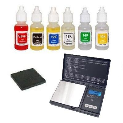 Gold Platinum Silver Test Kit & 100 x 0.01g Digital Pocket Scale