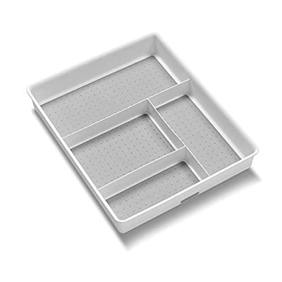 madesmart Basic Gadget Tray Organizer - White | BASIC COLLECTION | 4-Compartments | Multi-Purpose Storage | Non-slip Lining | Easy to Clean | Durable | BPA-Free - Four compartments for all-in-one organization Soft-grip lining and non-slip rubber feet ensure that items stay in their place Rounded corners allow for easy use and cleaning - organizers, bathroom-accessories, bathroom - 41F2u565i8L. SS400  -