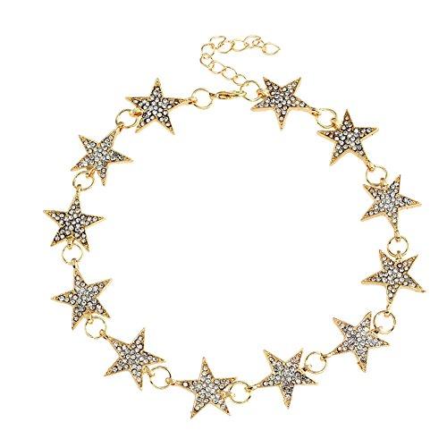 Diamondo Fashion Women Star Choker Hollow Rhinestone Necklace Collar Gold Color 39.5cm (Sexy Women Themes)