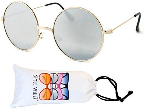 W3007-vp Style Vault Metal Oversized Round Sunglasses (B3108F Gold-silver mirror, - Round Trend Sunglasses
