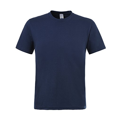 Smgslib Men's Casual T-Shirt, Short Sleeve Tops, O-Neck Tee, 100% Preshrunk Organic Cotton (Navy,S) (Seamless Short Navy Top Sleeve)