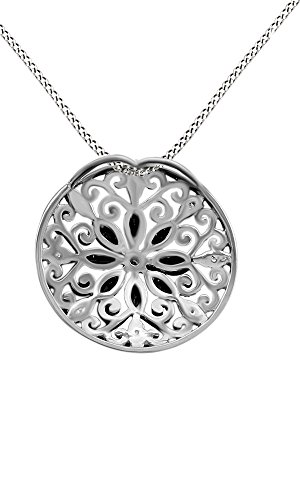 Jewel Zone US 925 Sterling Silver Simulated Blue Sapphire Natural Diamond Filigree Medallion Pendant Necklace