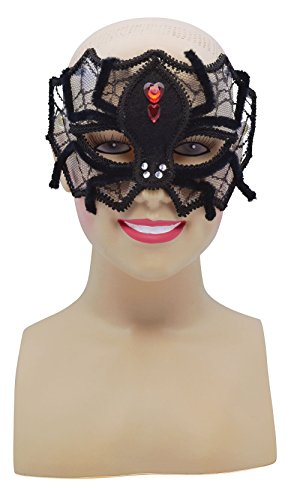 [Black Spider Web Mask With Red Stones] (Spider Web Mask)