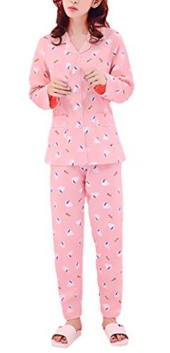 da E Lunga Eleganti Stampato Cute Manica Camicia Stile Pink Classiche Notte Homewear Breasted 3 Pigiama Dolce Pigiama Single Unique Pantaloni Risvolto Donna T5qwIxzO