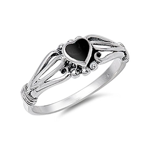 Sterling Silver Witch (Heart Of A Witch Simulated Onyx Designer Ring Sterling Silver 925 Size 8)