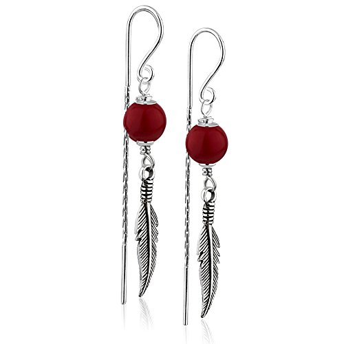 925 Sterling Silver Single Red Coral Bead & Feather Long Dangle Bar Backing Threader Earrings