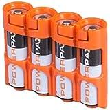 Storacell Powerpax AA Battery Caddy, Orange, 4-Pack