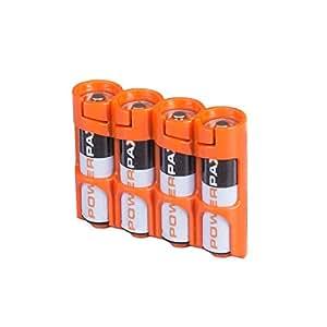 Storacell by Powerpax SlimLine AA Battery Caddy, Orange, Holds 4 Batteries