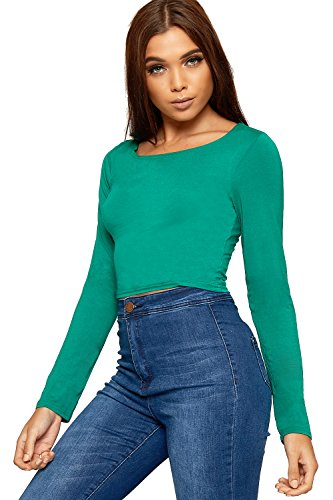 6cac2a963a8 WearAll Womens Plain Long Sleeve T-Shirt Ladies Cropped Short Round Neck Top  - Jade
