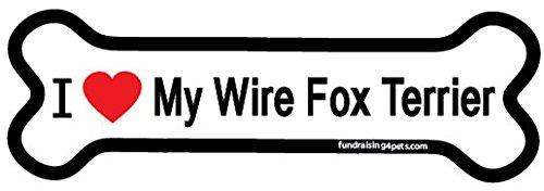 Fox Terrier Bone - I Love My Wire Fox Terrier bone magnet