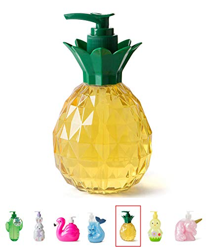 Pineapple Decor Hand Soap Dispenser: Tri-Coastal Design Pineapple Shaped Bottle with Ocean Scented Liquid Soap - Decorative Hand Pump Refillable Soap Dispensers for Kitchen and Bathroom - 11.8 ounces