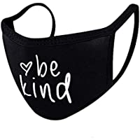 Be Kind Face Mask | Black Face mask| Easy to Breathe Fabric Mouth Cover | 100% Cotton Face Protective Shield | Made In USA | Custom Mask | Black Mask for Women | Heart Mask| Inspirational Mask