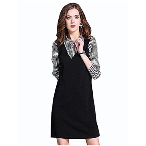 休みやりがいのあるアコー女性ストリートファッションプラスサイズシースドレスパッチワークシャツカラー膝上長袖ブラックコットン春秋ミッドライズマイクロエラスティックミディアム