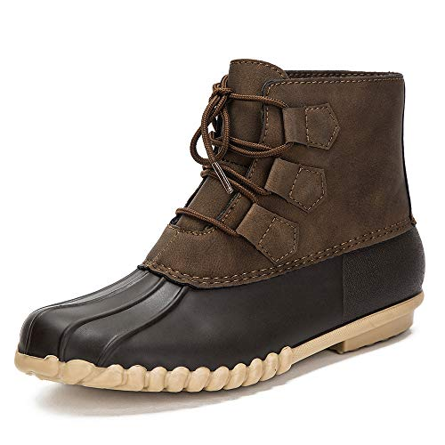 DKSUKO Women's Duck Boots Lace Up Waterproof Ankle Rain Boots (10 B(M) US, Brown)