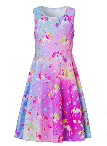 Girls Unicorn Diamond Dress, Little Girl Colourful Sundresses