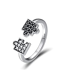 The Kiss Autism Awareness Puzzle Symbol 925 Sterling Silver Adjustable Ring, Clear CZ