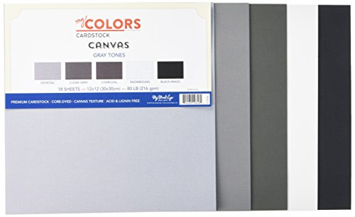 My Colors 210036 - Cartulinas en Tonos Grises de Lona (18 Unidades, 30 x 30 cm), Multicolor