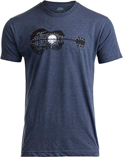 Acoustic Guitar Moonrise | Guitarist Musician Music Player for Man Woman T-Shirt-(Adult,L) Vintage Navy