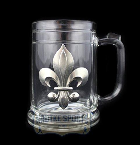 New Orleans Saints Glass Stein - Pewter Emblem