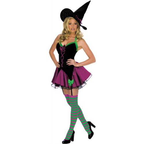 Secret Wishes Women's Playboy Sparkle Sexy Witch Costume, Black, Large - Playboy Sexy Witch