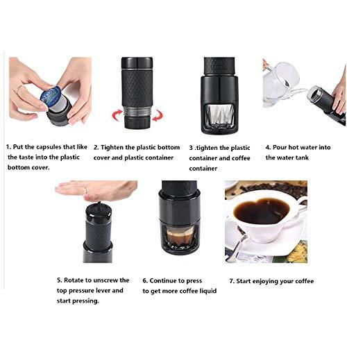 RENYAYA Máquina Portable del Espresso, Compatible con El Polvo del Café, Cápsula Helada Manual Condensada del Polvo del Café, Mini Fabricante del Café del ...