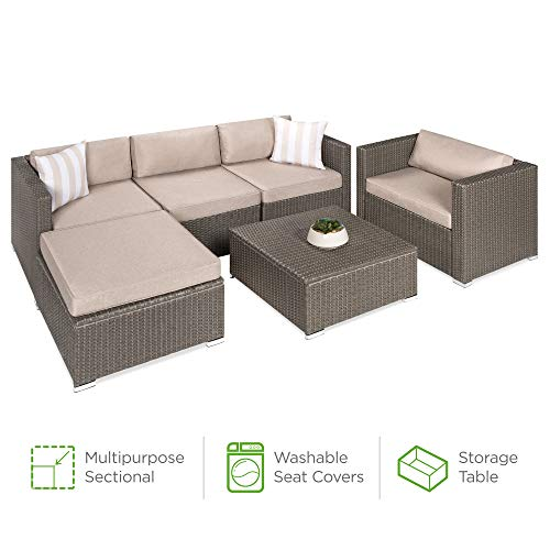 Best Choice Products 6-Piece Outdoor Wicker Conversation Set Sectional Modular All-Weather Patio Furniture w/Storage Table, 2 Pillows, Furniture Cover and Attachable Hooks