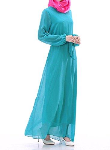 Coolred-femmes Abaya Taille De Mode Manches Longues En Mousseline De Soie Musulman Ciel Robe Longue Bleu