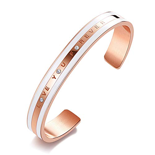 CDE 18K Rose Gold Bracelet Embellished with Crystals from Swarovski Bangle Cuff Love You Forever Stainless Steel Jewelry for Women Gift Fits 6-7.5 inch Wrists, Gift for Mothers Day