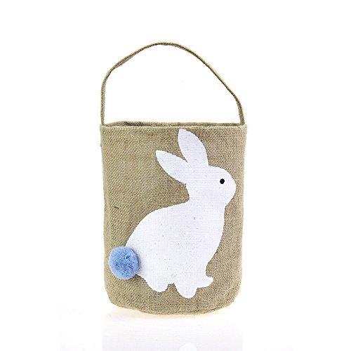 Easter Basket for Kids Bunny Bag for Easter Hunt (White)