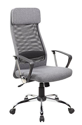 United Chair UOC-8045-GR High Back Mesh and Fabric Swivel Of