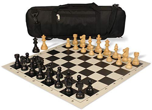 Ebonized Chess (French Lardy Carry-All Chess Set Package Ebonized & Boxwood Pieces - Black)