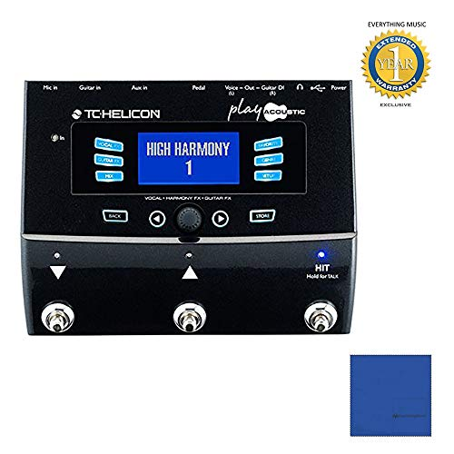 (TC Helicon Play Acoustic Vocal Effects Processor with Microfiber and 1 Year Everything Music Extended Warranty )